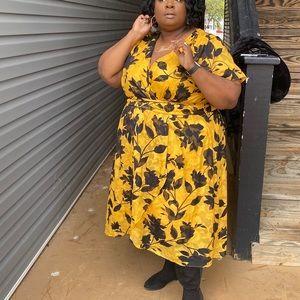 Lane Bryant Yellow & Black Floral Wrap style dress